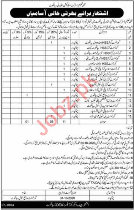 Education Department Sialkot Jobs 2020 for Chowkidar