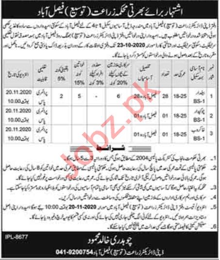 Agriculture Extension Department Faisalabad PARB Jobs 2020