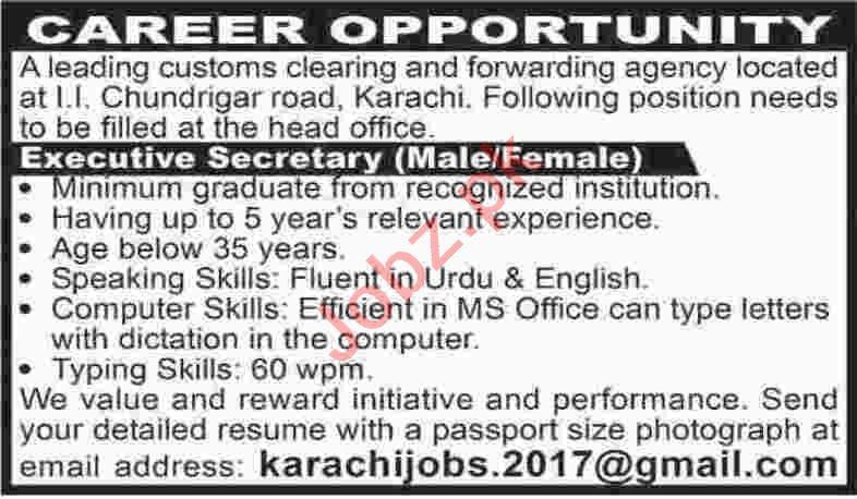 Male & Female Executive Secretary Jobs 2020 in Karachi