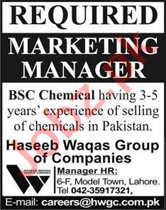 Marketing Manager Jobs in Haseeb Waqas Group of Companies