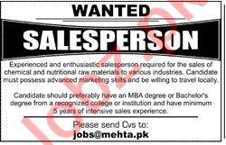 Salesperson & Sales Officer Jobs in Mehta Brothers Karachi