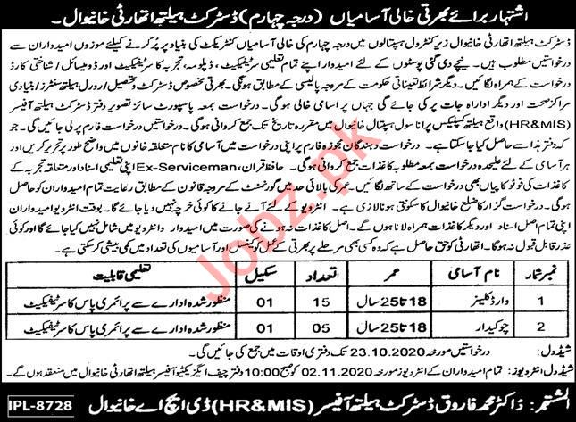 Primary & Secondary Healthcare Department Khanewal Jobs 2020