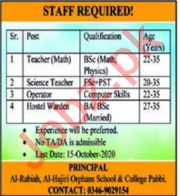 Al Hajiri Orphans School & College Pabbi Jobs 2020