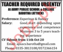 Army Public School & College APS&C Barotha Jobs 2020