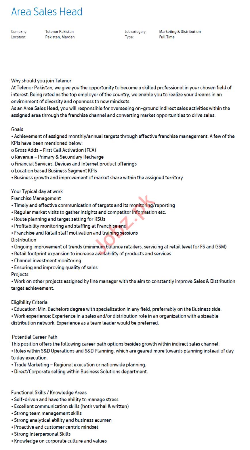 Area Sales Head Jobs 2020 in Telenor Mardan