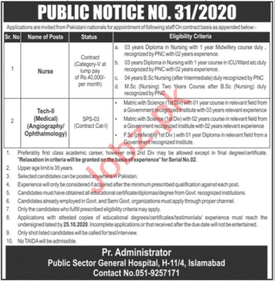 PAEC General Hospital Islamabad Jobs 2020 for Nurse