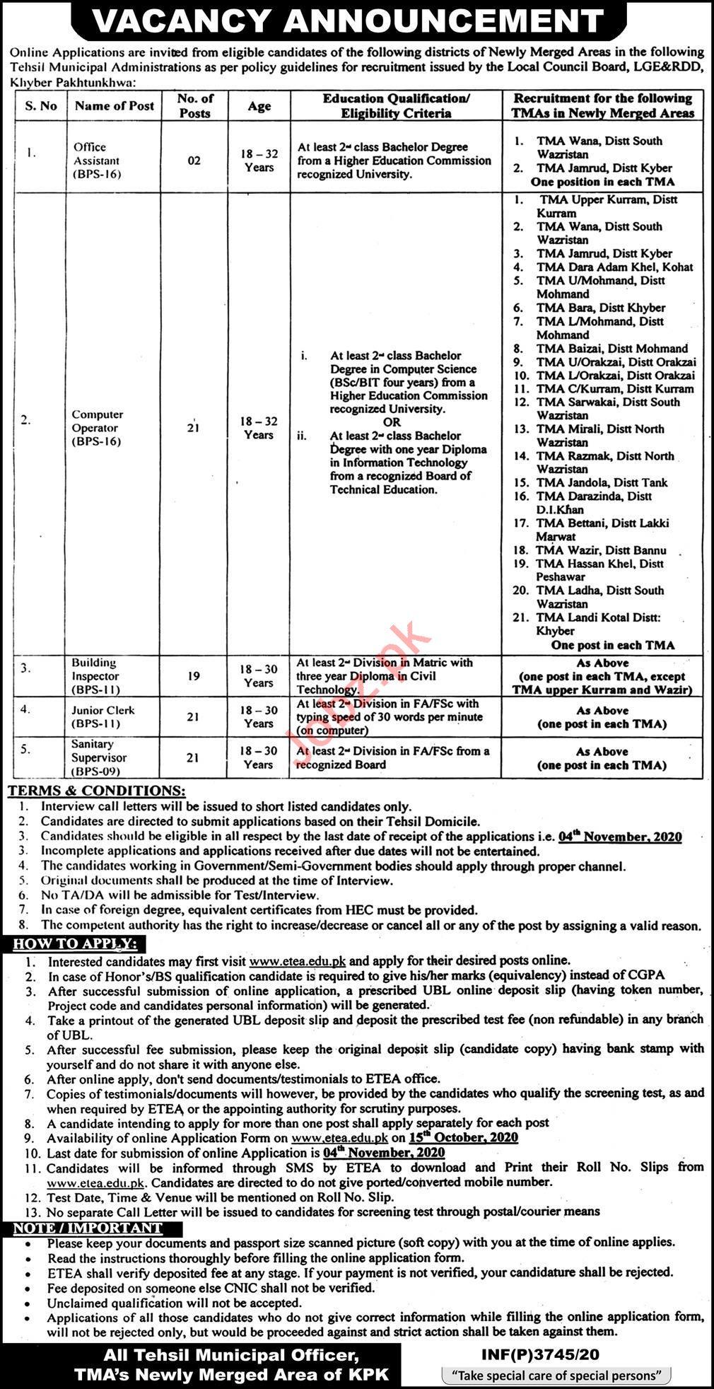 Khyber Pakhtunkhwa Local Council Board LCBKP Jobs 2020