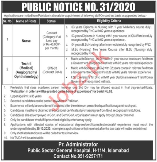 Pakistan Atomic Energy Commission PAEC Hospital Jobs 2020