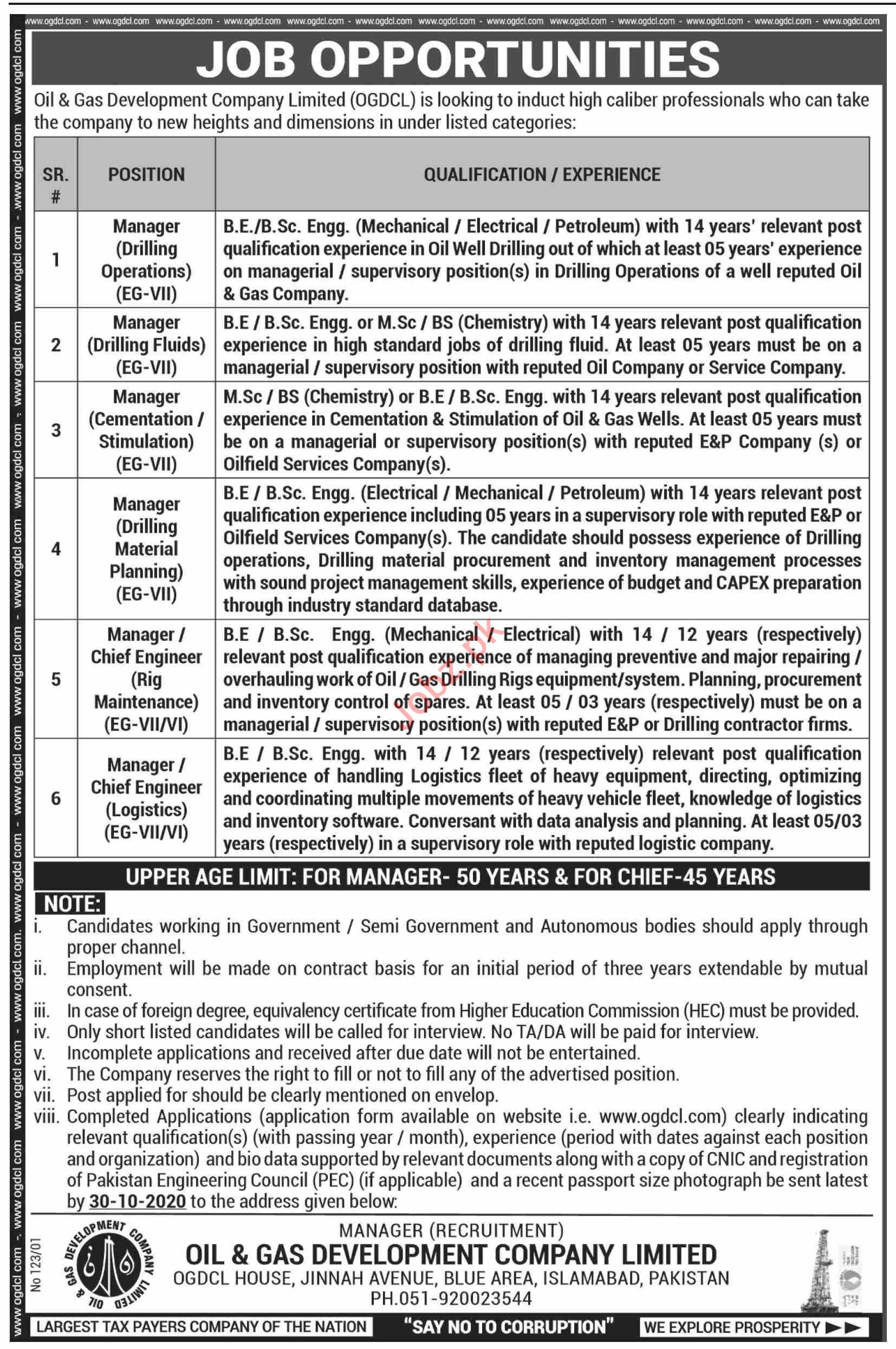 OGDCL Islamabad Jobs 2020 for Manager & Chief Engineer