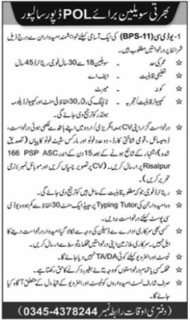 POL Depot Jobs 2020 For Civilian Staff in Risalpur