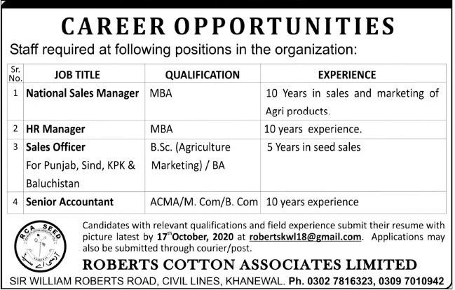 Roberts Cotton Associates Limited Jobs 2020 in Khanewal