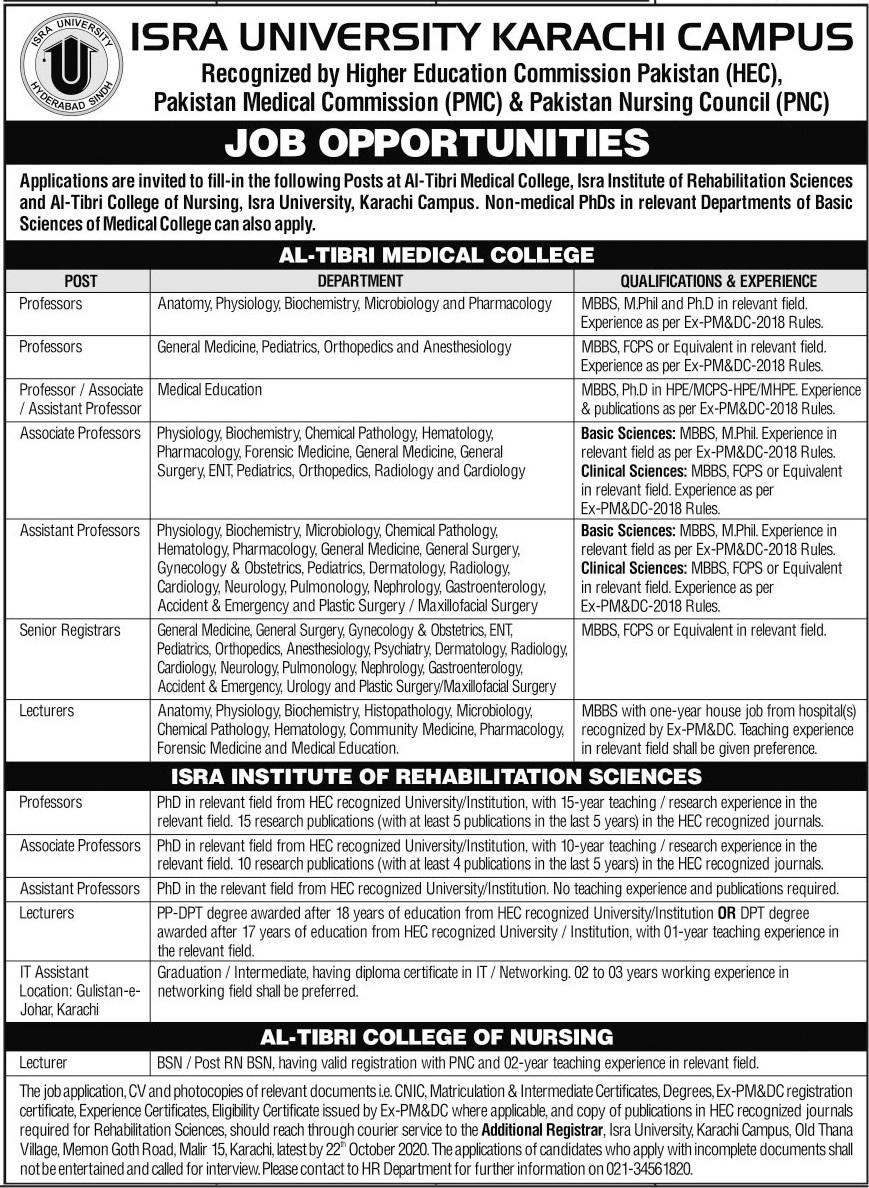 Isra University Karachi Campus Faculty Jobs 2020
