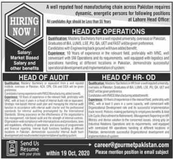 Gourmet Pakistan Jobs 2020 in Lahore