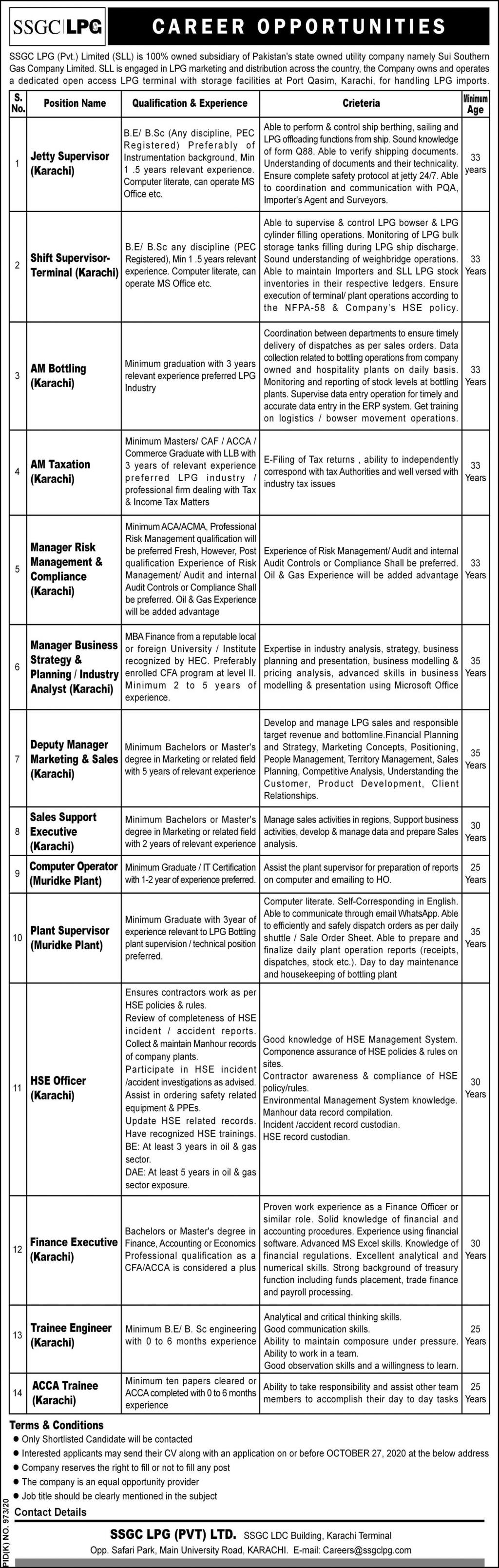 SSGC LPG Jobs 2020 in Karachi