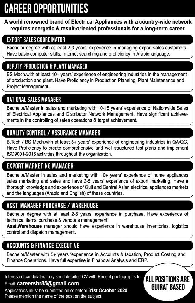 Electrical Appliances Company Jobs 2020