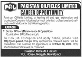 Pakistan Oilfields Ltd Jobs 2020 For Technical Staff