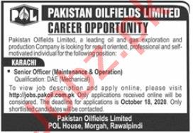 Pakistan Oilfields Limited POL Jobs 2020 for Senior Officer