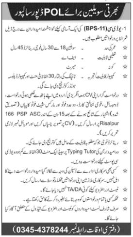 POL Depot Jobs 2020 For Civilian Staff in Risalpur KPK