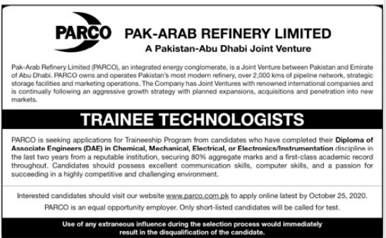 Pak Arab Refinery Ltd PARCO Jobs For Trainee Technologists