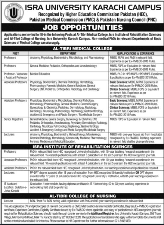 Isra University Faculty Jobs 2020 in Karachi