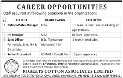 Roberts Cotton Associates Limited Jobs 2020 For Khanewal