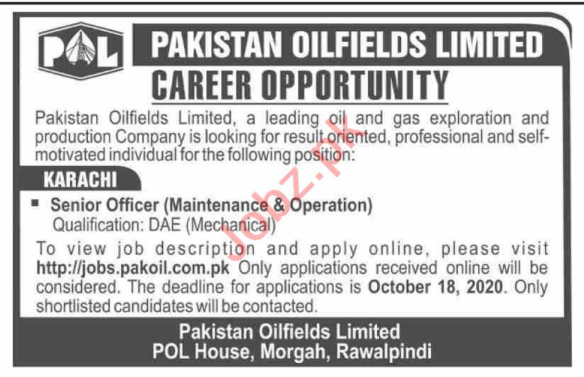 Senior Officer Jobs 2020 in Pakistan Oilfields Limited POL