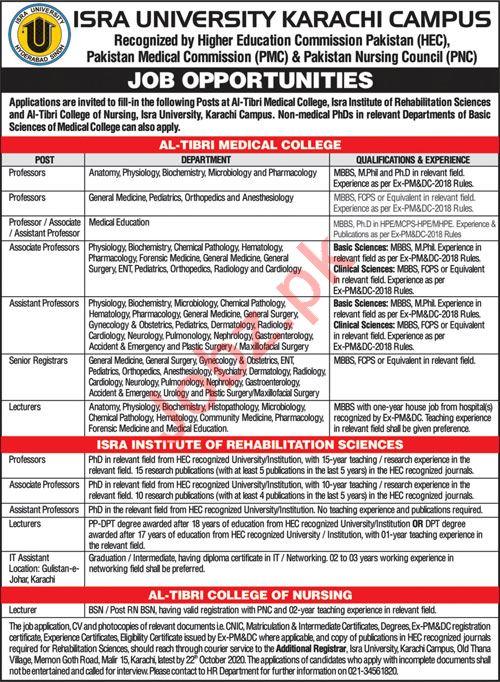 Isra University Karachi Campus Jobs 2020 for Professors