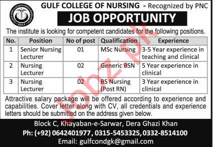 Gulf College of Nursing GCN Dera Ghazi Khan Jobs 2020