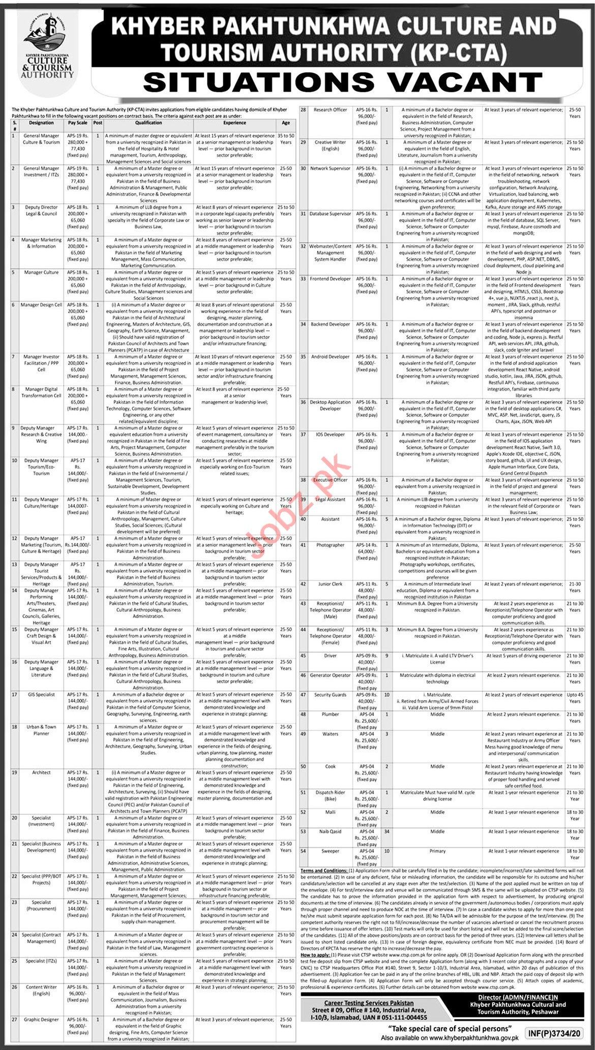 KP CTA Culture & Tourism Authority Jobs 2020 General Manager