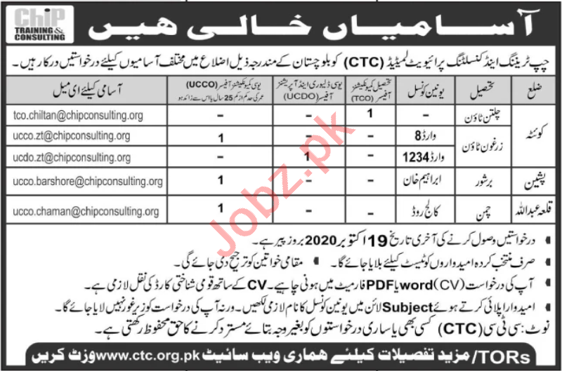 CHIP Training & Consulting CTC Balochistan Jobs 2020