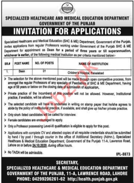 SHC & ME Children Hospital Faisalabad Jobs 2020 for Dean