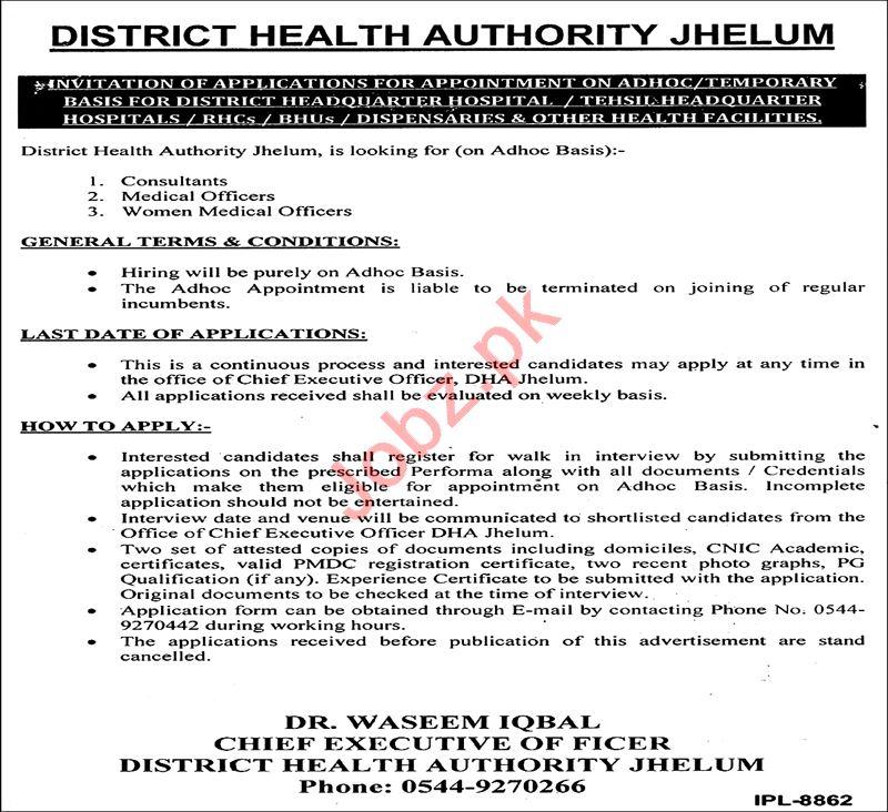 District Health Authority DHA Jhelum Jobs 2020 for Doctors