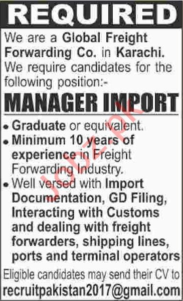 Manager & Manager Import Jobs 2020 in Karachi
