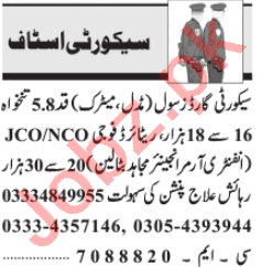 Security Executive & Security Guard Jobs 2020 in Lahore