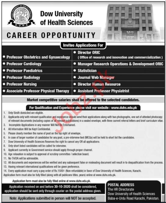 DUHS University Karachi Jobs 2020 Professor & Director