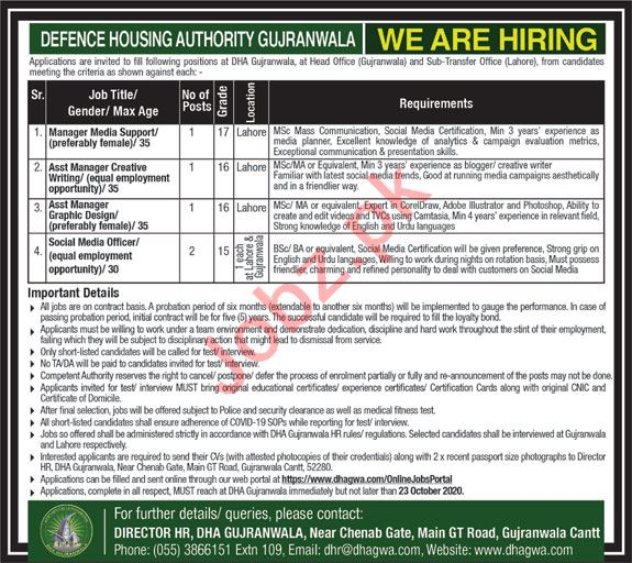 Defence Housing Authority DHA Gujranwala Jobs 2020