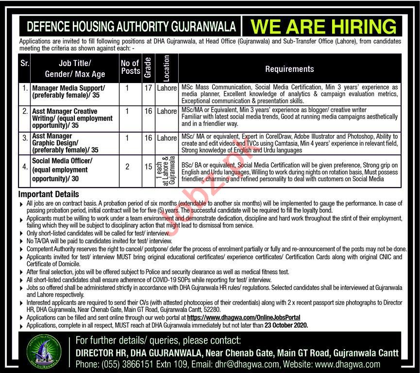 DHA Gujranwala Jobs 2020 for Manager & Assistant Manager