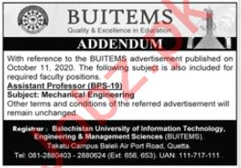 BUITEMS University Jobs 2020 for Assistant Professor