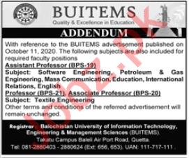 Professor & Associate Professor Jobs 2020 BUITEMS University