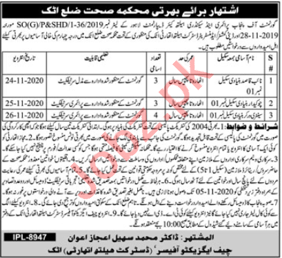 Health Department Attock Jobs 2020 for Naib Qasid