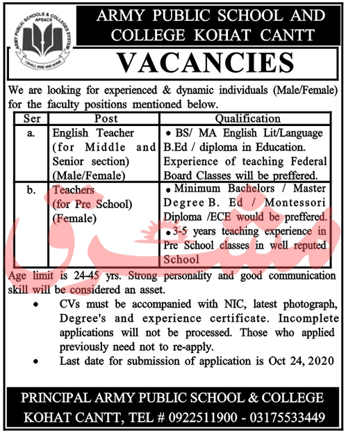 Army Public School & College Jobs 2020 in Kohat Cantt