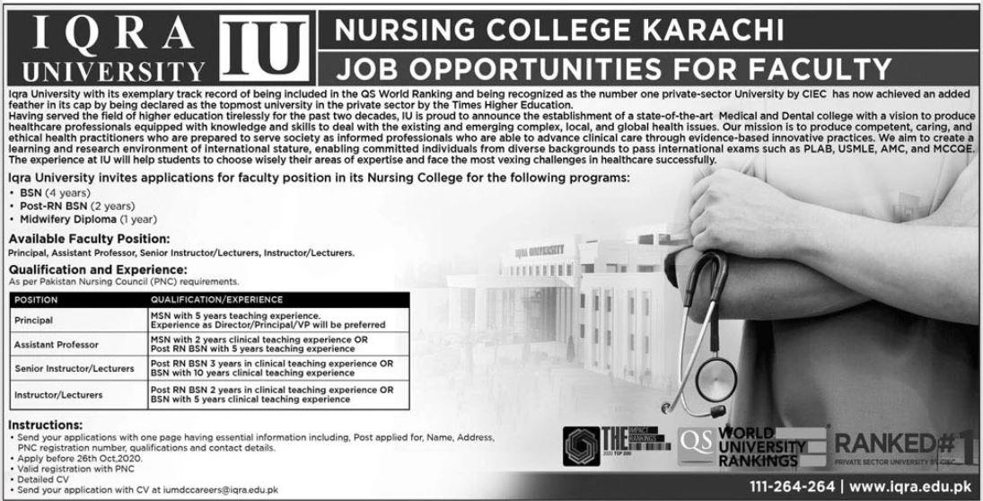Nursing College Karachi Faculty Jobs 2020