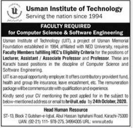 Usman Institute of Technology Faculty Jobs 2020 in Karachi