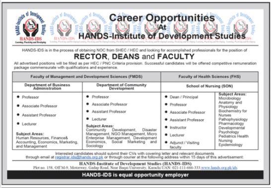HANDS IDS Institute of Development Studies Jobs in Karachi
