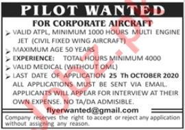 Pilot & Corporate Aircraft Pilot Jobs 2020 in Lahore