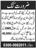 Cook Job 2020 For House in Peshawar KPK