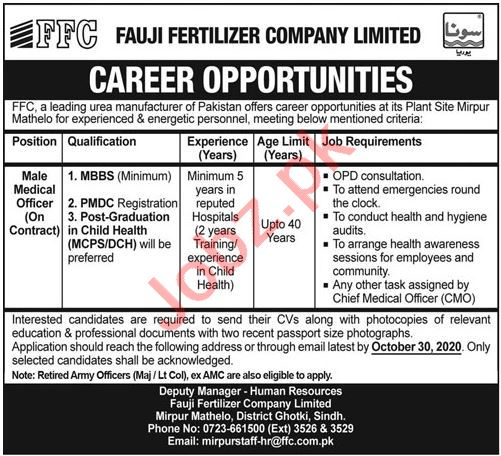 Fauji Fertilizer Company FFC Ghotki Jobs for Medical Officer