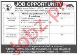 Green Windows Rawalpindi Jobs 2020 for Production Incharge