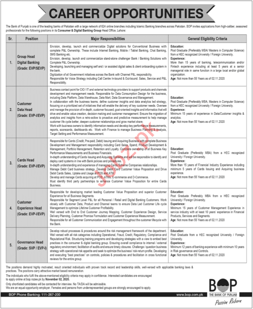 Customer Data Head & Cards Head Jobs for Bank of Punjab BOK