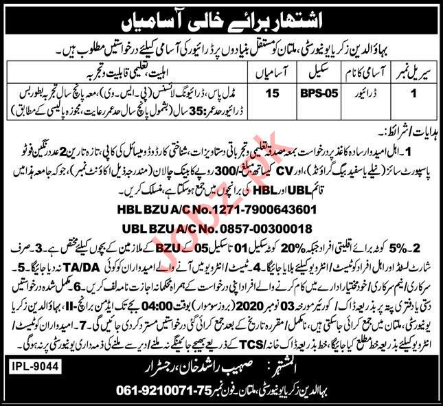 Bahauddin Zakariya University BZU Multan Jobs 2020
